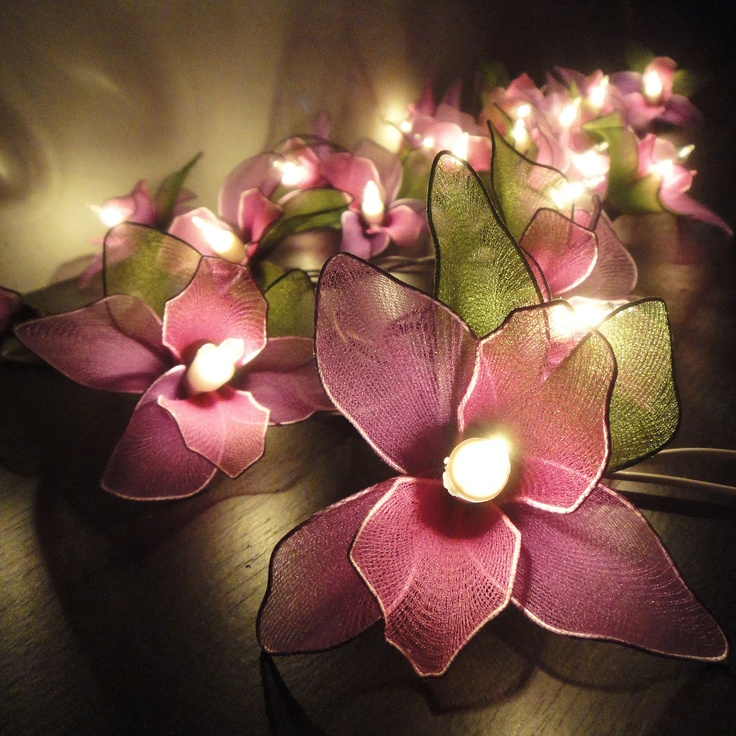20 Purple Orchid Flower Fairy String Lights Wedding Party Floral Home Decor 3.5m. $15.97, via Etsy.