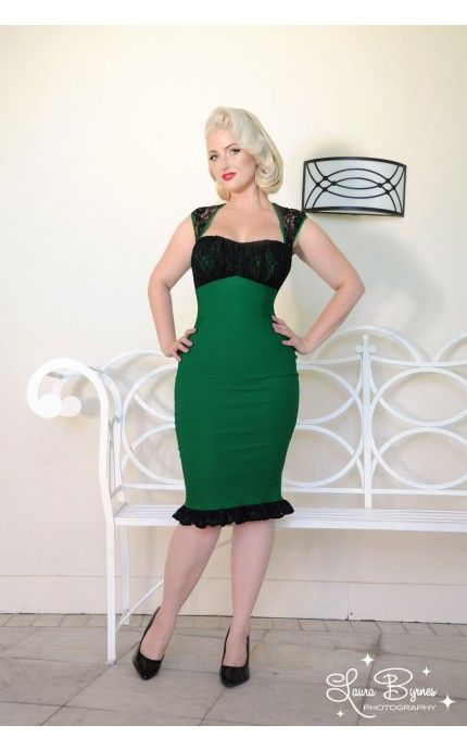 Pinup Couture- Micheline Dress in Green Bengaline with Black Lace   Pinup Girl Clothing