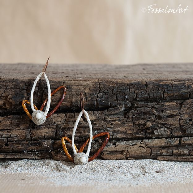 Earrings. Hemp twine, sand and pebble. | Handamade by FossalonArt