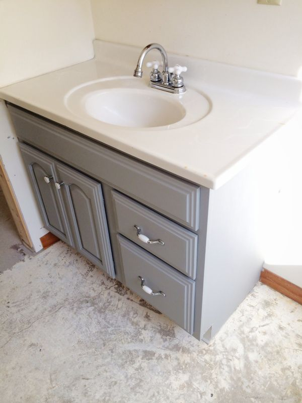 painted bathroom vanity - michigan house update