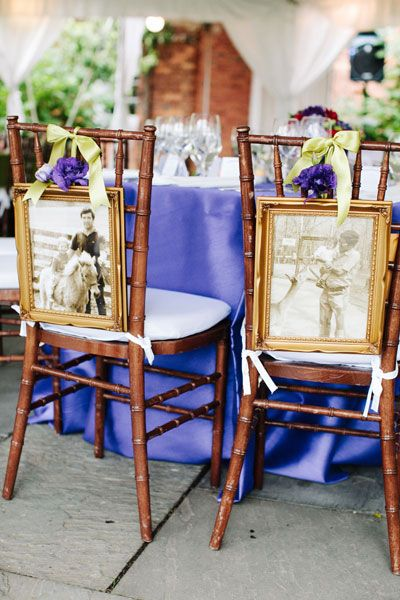 Displayed baby photos on the back of your dinner chairs at the wedding reception.