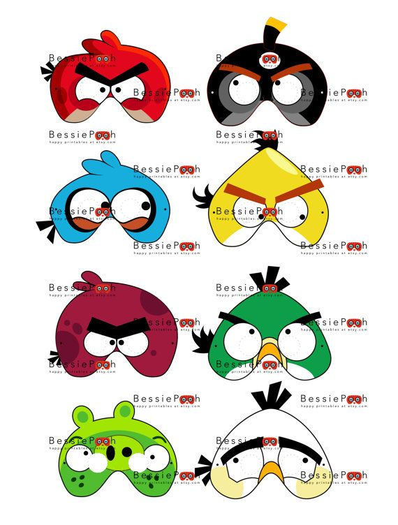 Angry Bird Character Face Painting Masks
