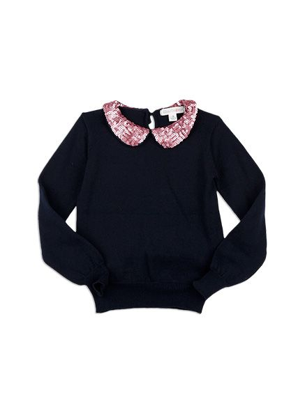 Charlie&me - - sequin collar jumper - W6CG30003 - navy - 2 to 10