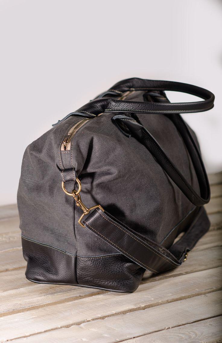 Storm Linen Weekender w/ Black Leather at Veeshee.com. #veeshee
