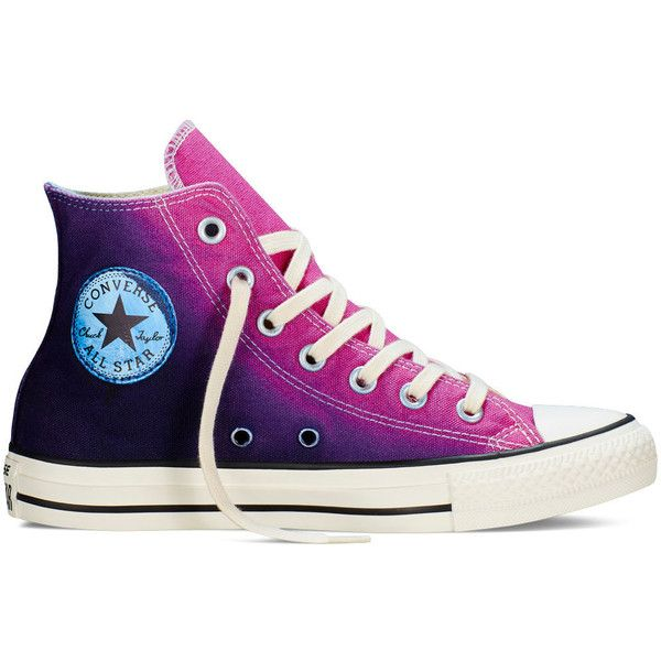 Converse Chuck Taylor All Star Sunset Wash – plastic pink Sneakers ($65) ❤ liked on Polyvore featuring shoes, sneakers, plastic pink, converse footwear, long shoes, pink sneakers, converse trainers and star shoes