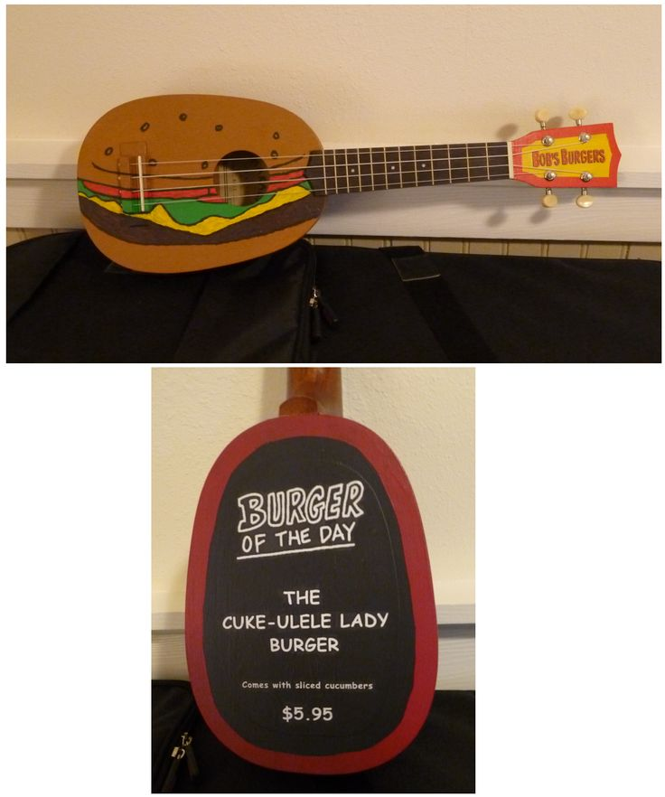 "This is the Cuke-ulele Lady Burger, inspired by Bob's Burgers and its theme, which is played on the ukulele. The ""Burger of the Day"" blackboard is on the uke's back (see other picture). I painted the design with acrylics on a soprano pineapple ukulele after sanding off the uke's finish. The logo on the headstock is a decal created on my printer. #bobsburgers #behindbobsburgers #ukulele #ukuleleart #animation"