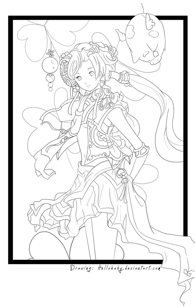 Clover Girl Lineart By Hellobaby Find This Pin And More On Coloring Pages Detailed Big Kids