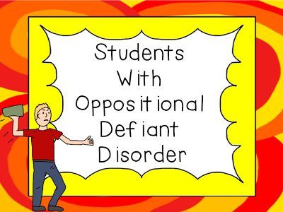 A Tender Teacher for Special Needs: Students with Oppositional Defiant Disorder and Freebie. Children with ODD frequently argue and throw tantrums. They get angry a lot and show their anger through disruptive behaviors. These actions make it hard for children with ODD to maintain positive relationships.  Read more to get some great suggestions and download a FREE tracking chart.  Go to:  http://atenderteacherforspecialneeds.blogspot.com/2013/12/students-with-oppositional-defiant.html