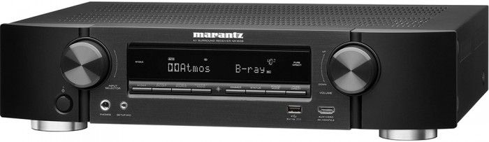 he Marantz NR1608 AV Receiver features Bluetooth and AirPlay connectivity easy access to streaming services. It includes discrete, high current power amplifiers over all seven channels, delivering immersive 3D surround sound thanks to both Dolby Atmos and DTS:X decoders, and supports 4K 60Hz video, 4:4:4 Pure Colour sub-sampling, BT.2020, HDR and Dolby Vision. Black.