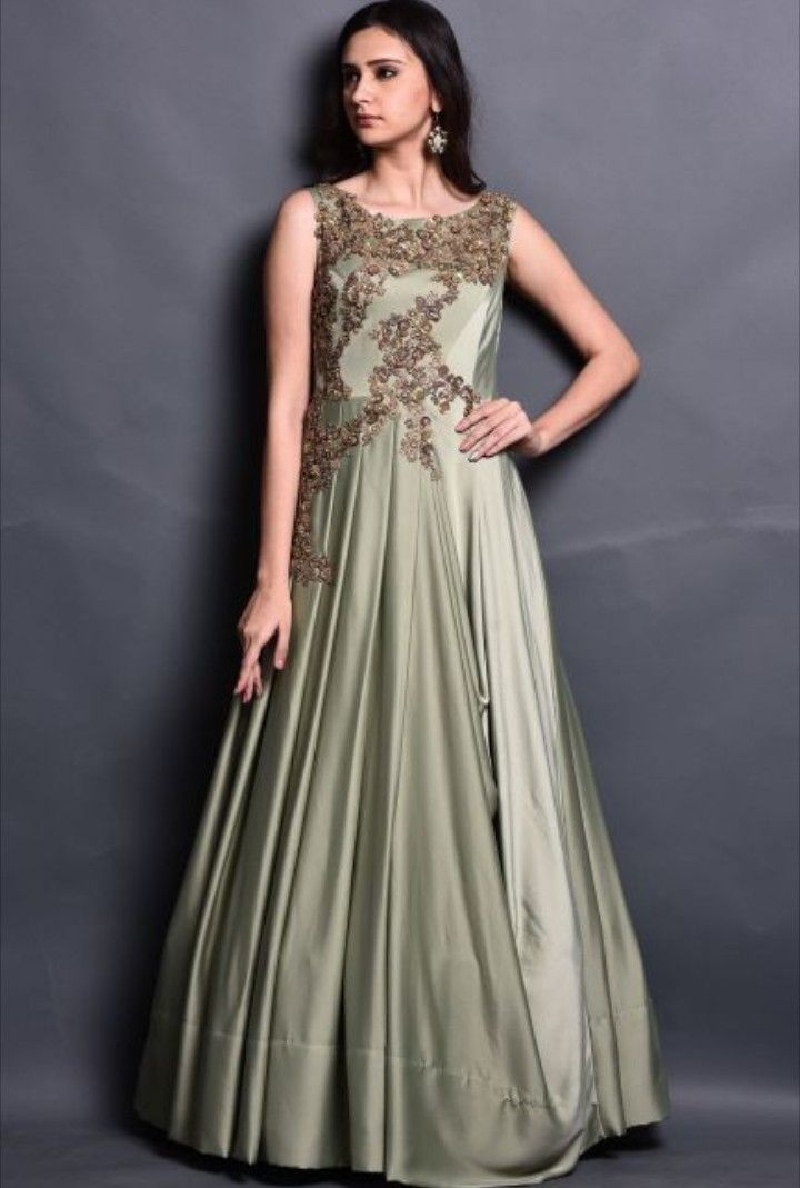 67e5c0e426616 Beautiful Indo-Western gown with beautiful embroidery placement ...