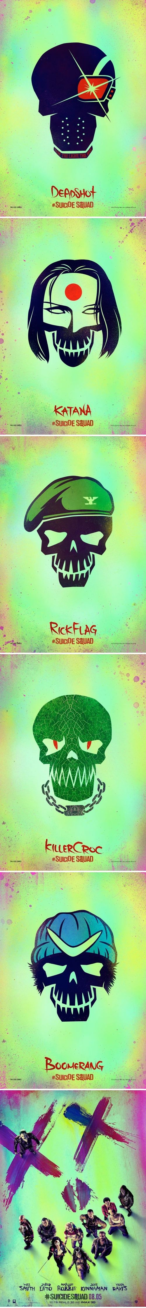 Suicide Squad Character Posters - Deadshot, Katana, Rick Flag, Killer Croc & Boomerang