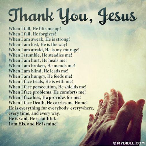 Thank you, Jesus - Christian faith and spiritual encouragement and inspiration.