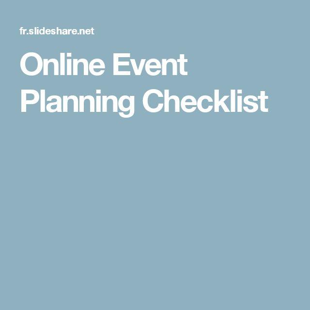Online Event Planning Checklist Party planning list Pinterest