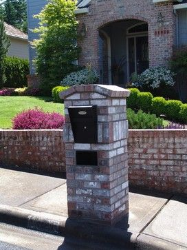 Brick enclosed mailbox. Houzz - Home Design, Decorating and Remodeling Ideas and Inspiration, Kitchen and Bathroom Design