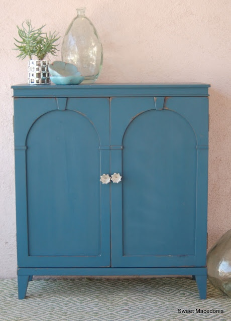 Before After Antique Cabinet With Bookshelves Painted In Annie Sloan Aubusson Blue Chalk Paint
