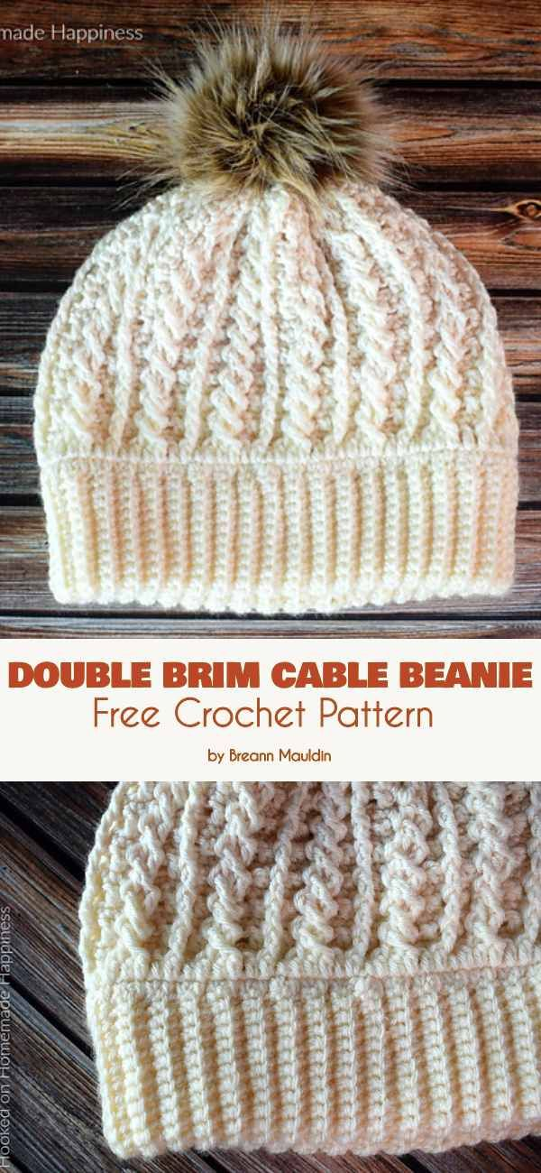 3a06bfdbaff Double Brim Cable Beanie Free Crochet Pattern