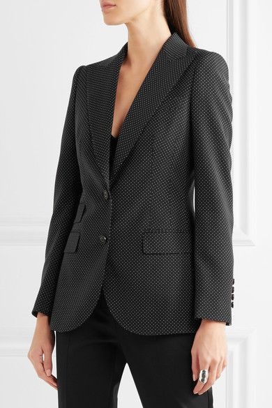 Dolce & Gabbana - Polka-dot Wool Blazer - Black - IT46
