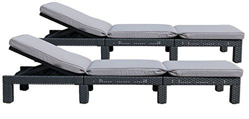 Allibert Daytona Sun Lounger Plastic Garden Furniture Rattan Look Set of 2 Graphite Exclusive Removable Cover