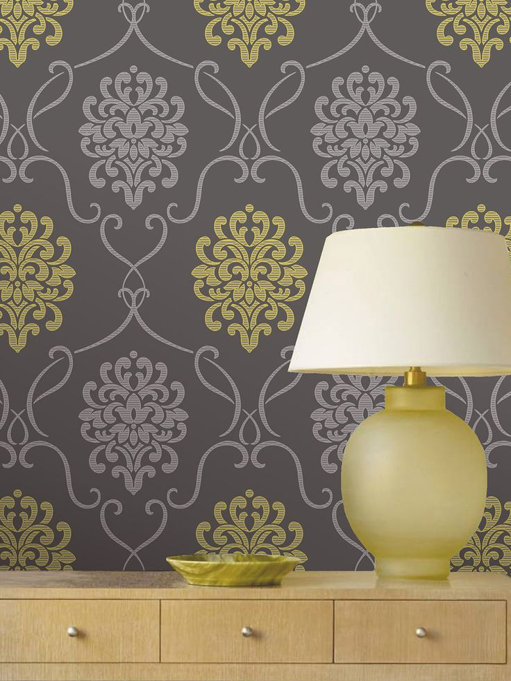 Suzette Grey Modern Damask Wallpaper Wallpaper idea for closet interior.