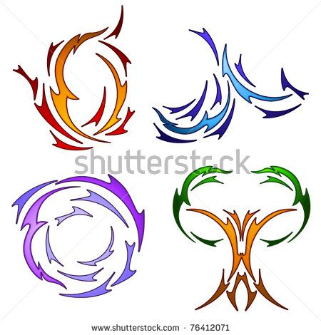 The four elements rendered in tattoo style - stock vector
