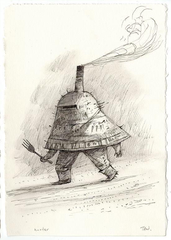 Shaun Tan - Hunter, ink and pencil, 15 x 21cm