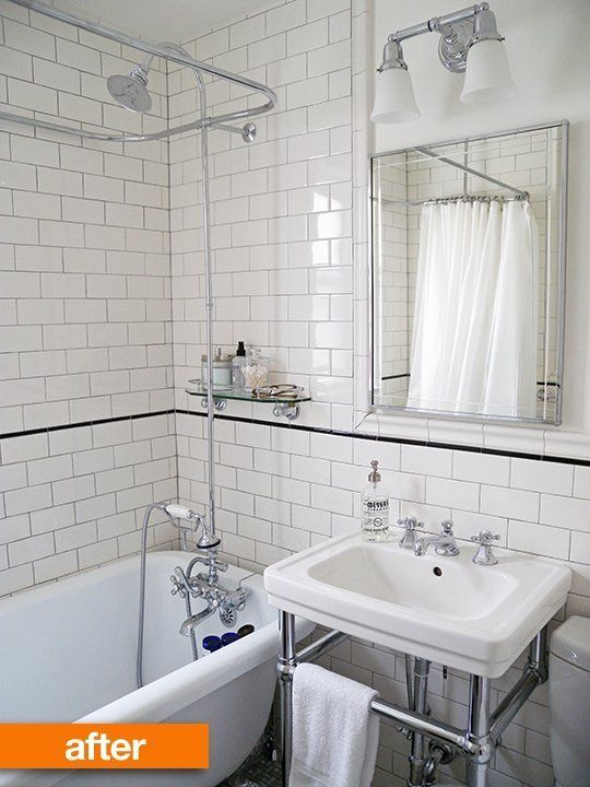 Before & After: A Tiny Bathroom Turns Traditional — Sweeten | Apartment Therapy (very similar layout to my bathroom)