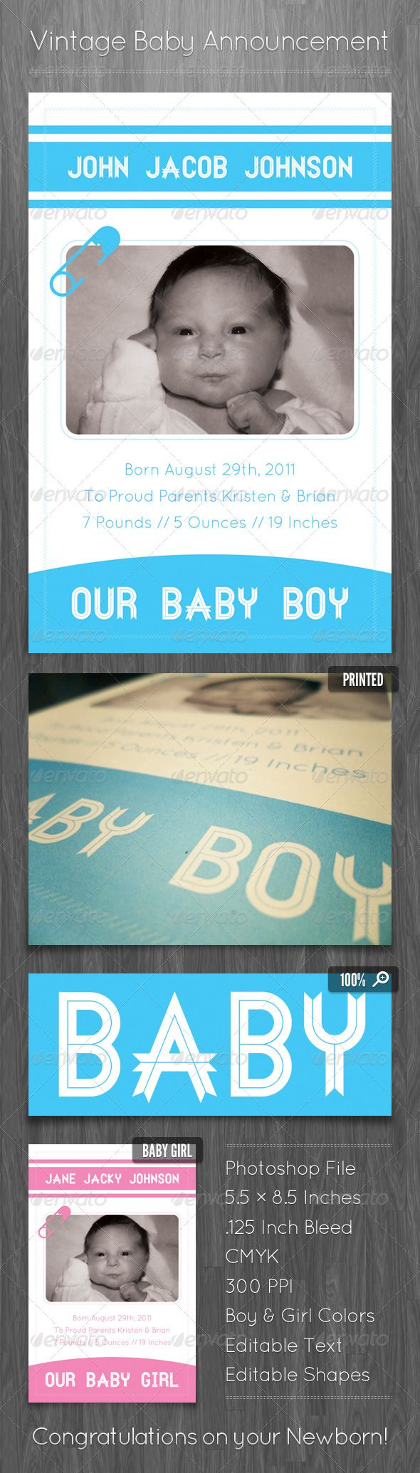 Vintage Baby Announcement Template 173 best Print