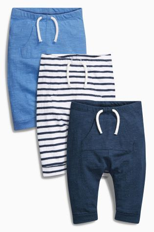 Buy Navy/White Boat Joggers Three Pack (0mths-2yrs) online today at Next…