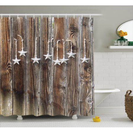 Primitive Country Decor Shower Curtain Silver Colored Ornate Stars On Wooden Rustic Fence Cabin Print Fabric Bathroom Set With Hooks 69W X 70L Inches