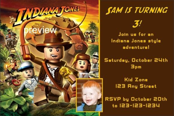 """Lego INDIANA JONES Invitation Lego INDIANA JONES Invitation. Have an """"Indy"""" style adventure with our Lego Indiana Jones birthday party invitation. Personalize it with your party information. You can also upload a photo if you want! Order now."""
