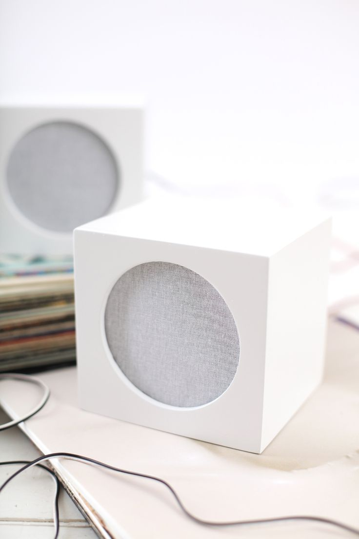 Hide your ugly speakers with this DIY speaker box cover - via A Beautiful Mess