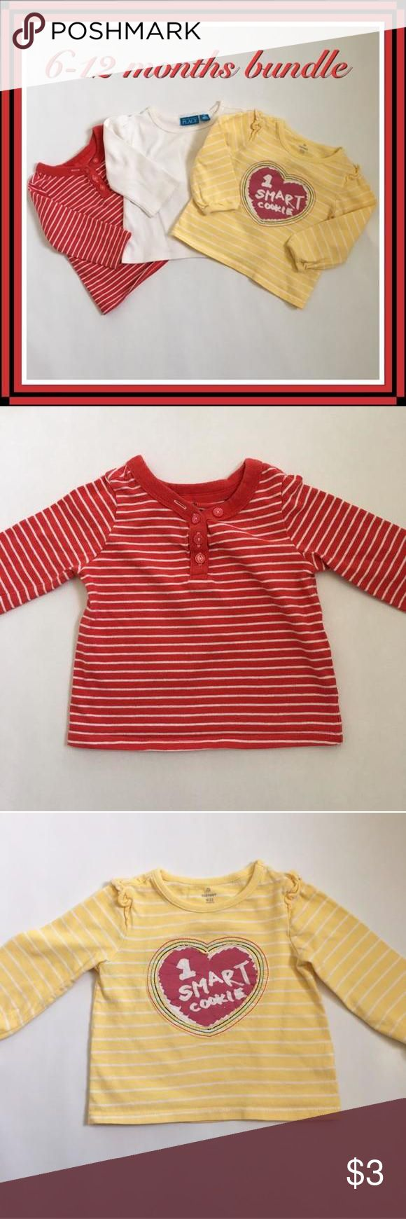 3 long sleeves shirt bundle 6-12 m 3 long sleeves shirt bundle for 6-12 months old. All used a couple of times, in excellent condition, no stains or wear. All 100% cotton. Machine wash/dry.   1. Old Navy with 1 smart cookie sign 2. The Children's Place.   3. Old Navy red/white stripes. Old Navy Dresses