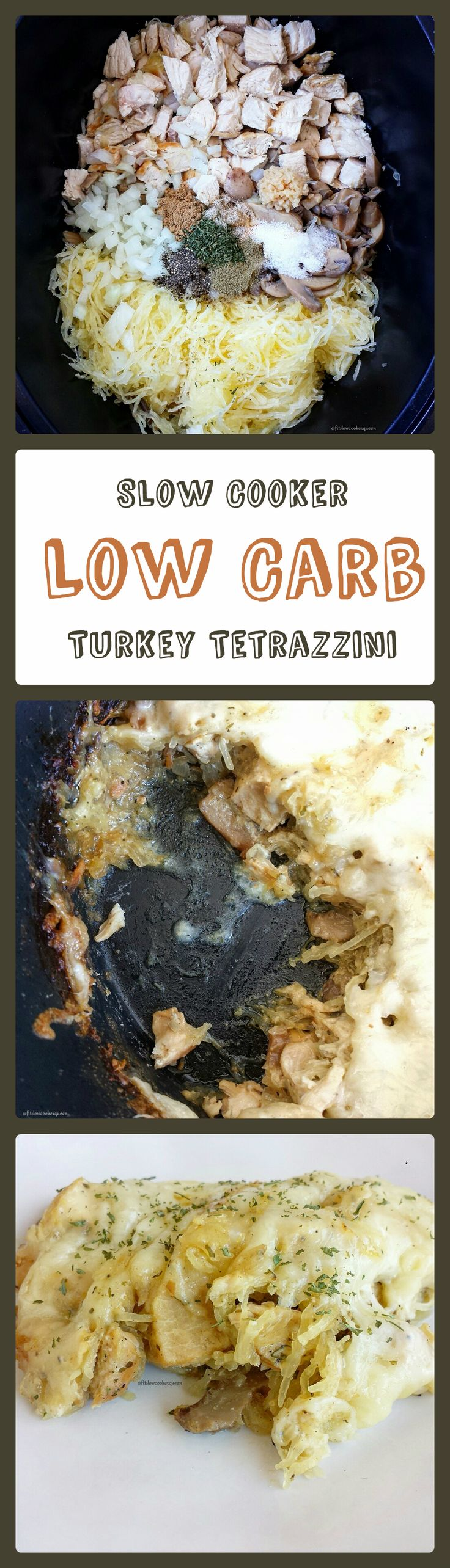 Healthy slow cooker / crockpot recipe -  This slow cooker low carb version of turkey tetrazzini uses spaghetti squash instead of pasta and a light & healthy homemade sauce.
