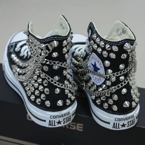 b16e2c310a243 Genuine CONVERSE All-Star Con Tachuelas   cadenas Zapatillas sheos Negro