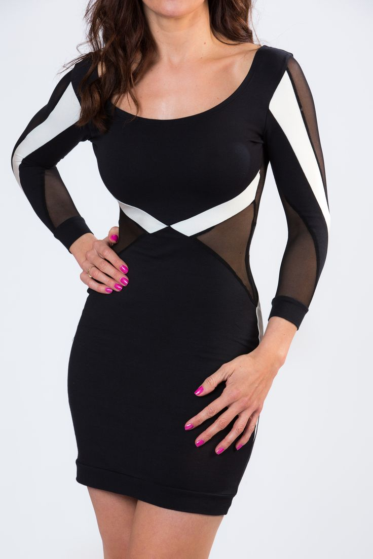 ELLA BLACK AND CREAM MESH PANELLED DRESS - LUXE RANGE FROM GIRL VS FASHION