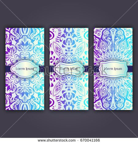 Set of luxury flyer pages set with mandala ornament illustration concept. Vector decorative retro greeting card or invitation design