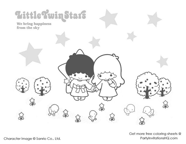 Little twin star coloring pages 1 coloring pages cute for Little twin stars coloring pages
