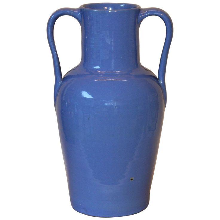 Rare Hand Turned Zanesville Ohio Handles Blue Art Pottery