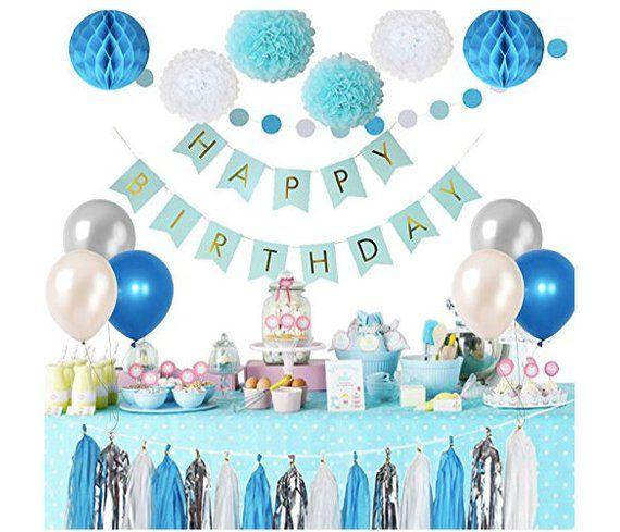 Frozen Theme White Blue Party Decorations Girls Balloons Pom Poms