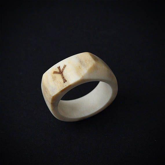 Gewei ring grootte 8 ons gewei sieraden Rune Algiz Viking