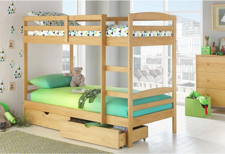 Josie - Single Bunk Bed with Drawers &2 Ashley Mattresses-Pine: Josie - Single Bunk Bed with Drawers &2 Ashley… #UKOnlineShopping