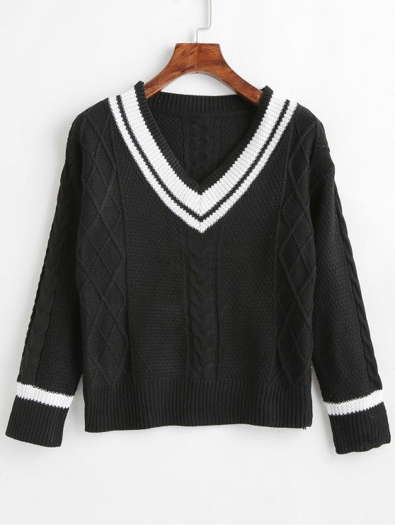 55e1ed9b0 Stripes Cable Knit V Neck Sweater in 2019