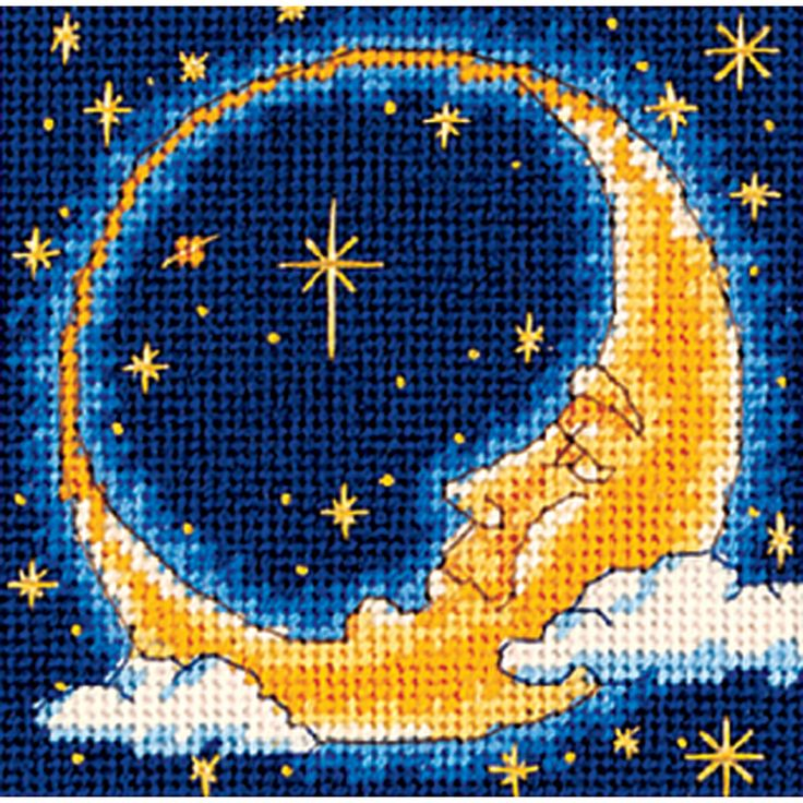 DIMENSIONS-Moon Dreamer Mini Needlepoint Kit stitched in yarn. You will find the man in the moon among shimmering stars in this radiant image of heavenly bodies. The dramatic palette of this design fe