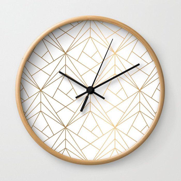 Geometric Gold Pattern Wall Clock Bohemian Wall Clock Gold Wall Clock Modern Wall Clock Minimalist In 2020 Minimalist Wall Clocks Gold Wall Clock Wall Clock Modern
