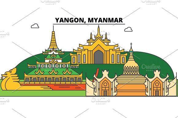 Yangon Myanmar Outline Skyline Burmese Flat Thin Line Icons Landmarks Illustrations Yangon Myanmar Cityscape Burmese Vector Tra Myanmar Yangon Line Icon