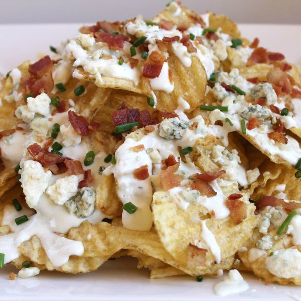 Copycat Gordon Biersch House Chips Recipe with 2% reduced-fat milk, cream cheese, crumbled blue cheese, Kettle Chips, cheese sauce, crumbled blue cheese, bacon, fresh chives