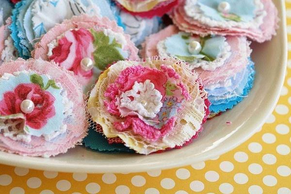 Vintage fabric flowers vintage-love