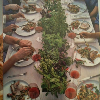 Herbs planted in the table ---- pinned by Producing Edibles , Facebook.com/producingedibles #tablepresentations