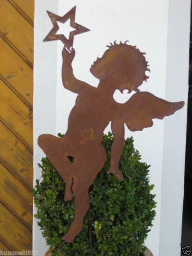 Edelrost Engel mit Stern auf Stab Rost Eisen Metall Deko Pute Geschenk Garten | eBay