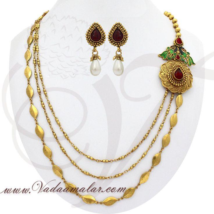 61 best mugappu side pendants images on pinterest emerald antique peacock design side pendant necklace chain details httpsvadaamalar mozeypictures Images